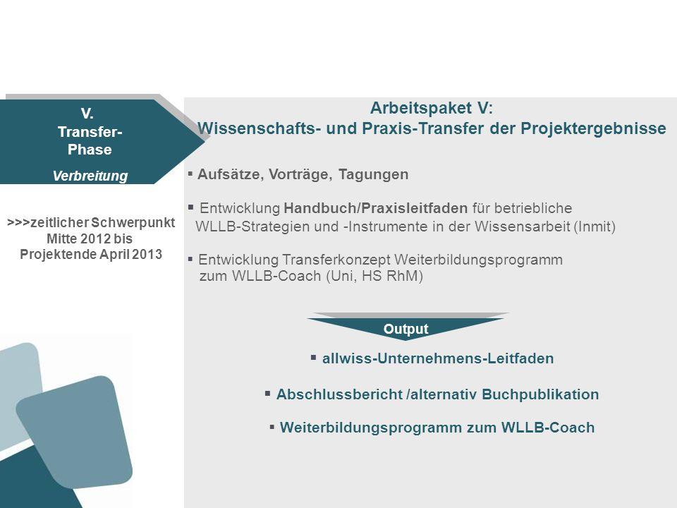 Arbeitspaket V: Wissenschafts- und Praxis-Transfer der Projektergebnisse Aufsätze, Vorträge, Tagungen Entwicklung Handbuch/Praxisleitfaden für betrieb
