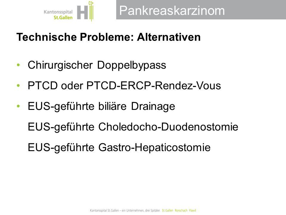Pankreaskarzinom Technische Probleme: Alternativen Chirurgischer Doppelbypass PTCD oder PTCD-ERCP-Rendez-Vous EUS-geführte biliäre Drainage EUS-geführte Choledocho-Duodenostomie EUS-geführte Gastro-Hepaticostomie