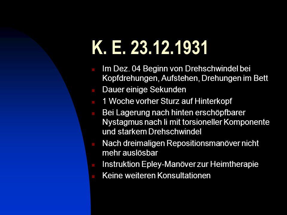 K. E. 23.12.1931 Im Dez. 04 Beginn von Drehschwindel bei Kopfdrehungen, Aufstehen, Drehungen im Bett Dauer einige Sekunden 1 Woche vorher Sturz auf Hi