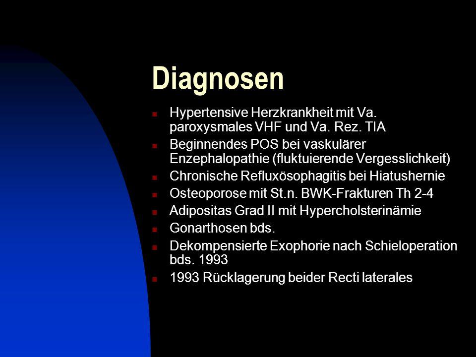 Diagnosen Hypertensive Herzkrankheit mit Va. paroxysmales VHF und Va. Rez. TIA Beginnendes POS bei vaskulärer Enzephalopathie (fluktuierende Vergessli
