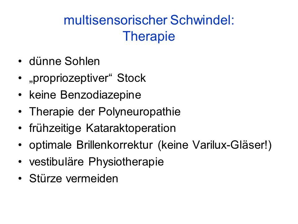 multisensorischer Schwindel: Therapie dünne Sohlen propriozeptiver Stock keine Benzodiazepine Therapie der Polyneuropathie frühzeitige Kataraktoperati