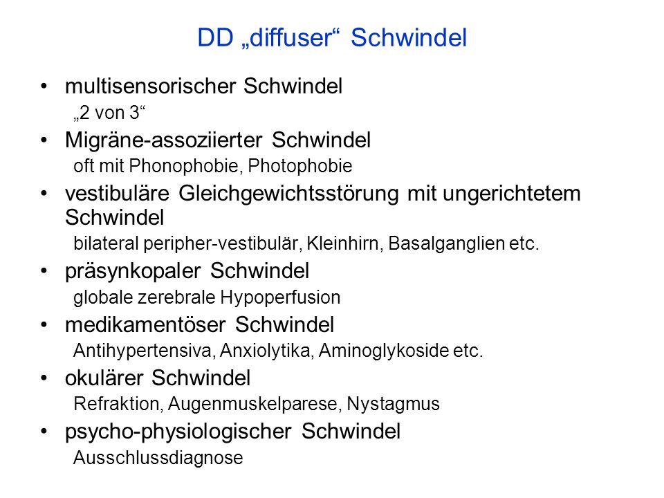 DD diffuser Schwindel multisensorischer Schwindel 2 von 3 Migräne-assoziierter Schwindel oft mit Phonophobie, Photophobie vestibuläre Gleichgewichtsst