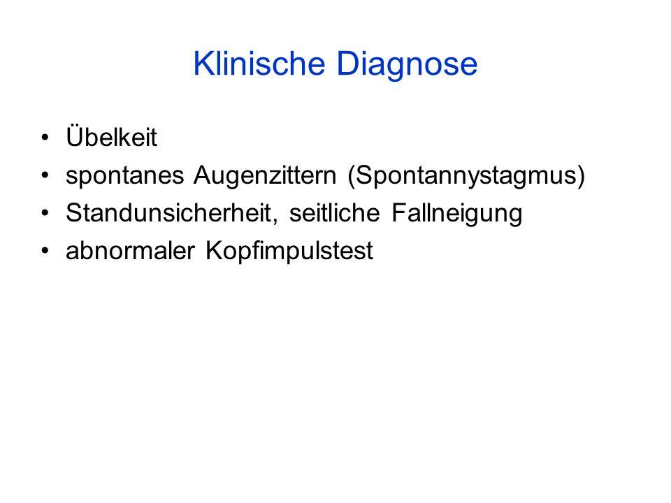 Klinische Diagnose Übelkeit spontanes Augenzittern (Spontannystagmus) Standunsicherheit, seitliche Fallneigung abnormaler Kopfimpulstest