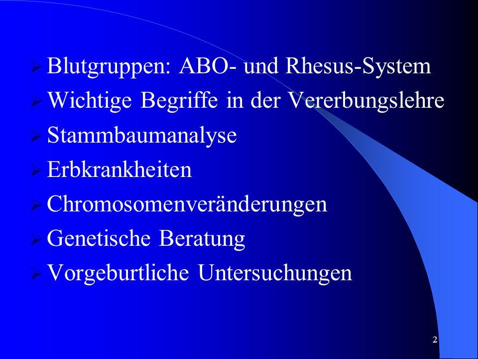 2 Blutgruppen: ABO- und Rhesus-System Wichtige Begriffe in der Vererbungslehre Stammbaumanalyse Erbkrankheiten Chromosomenveränderungen Genetische Beratung Vorgeburtliche Untersuchungen