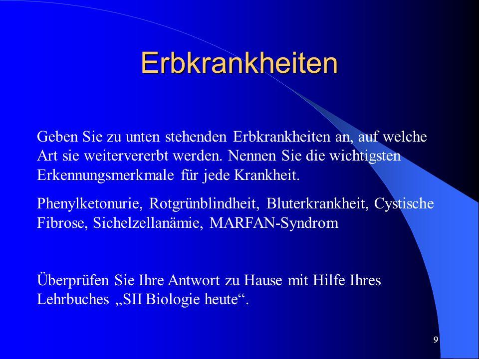 8 Lernziele für diese Lektion Vererbung von: Phenylketonurie, Rotgrünblindheit, Bluterkrankheit, MARFAN-Syndrom, Sichelzellanämie und Cystische Fibros
