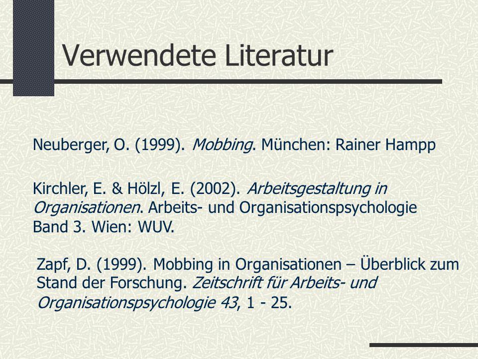 Verwendete Literatur Zapf, D. (1999). Mobbing in Organisationen – Überblick zum Stand der Forschung. Zeitschrift für Arbeits- und Organisationspsychol