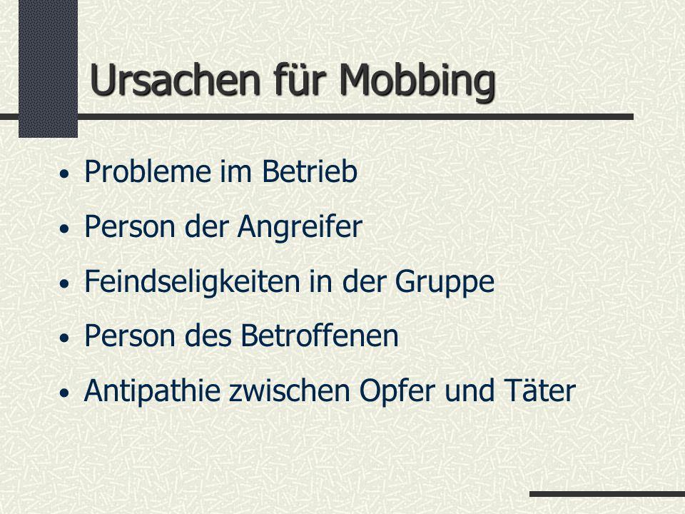 Ursachen für Mobbing Probleme im Betrieb Person der Angreifer Feindseligkeiten in der Gruppe Person des Betroffenen Antipathie zwischen Opfer und Täte