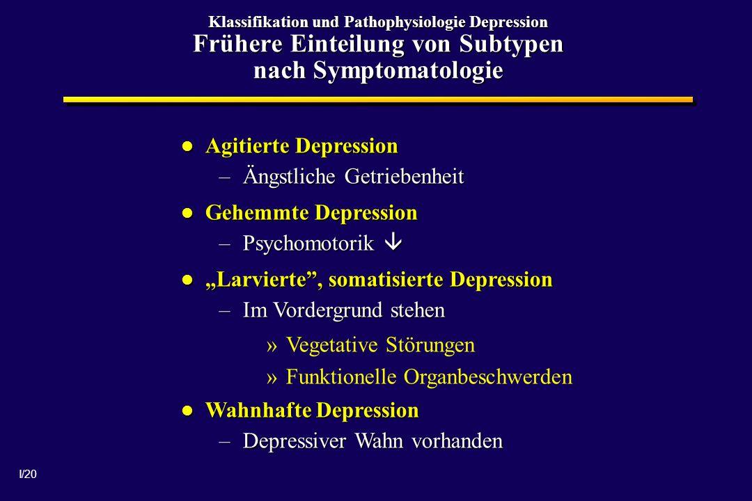 I/20 Klassifikation und Pathophysiologie Depression Frühere Einteilung von Subtypen nach Symptomatologie Agitierte Depression Agitierte Depression –Än
