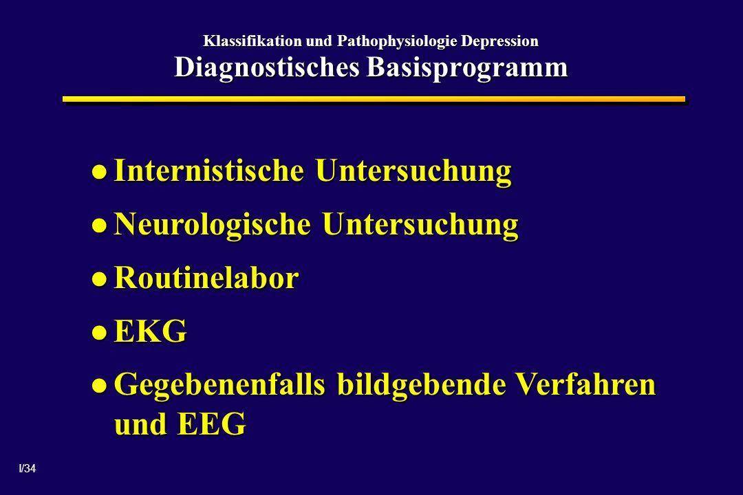 I/34 Klassifikation und Pathophysiologie Depression Diagnostisches Basisprogramm Internistische Untersuchung Internistische Untersuchung Neurologische