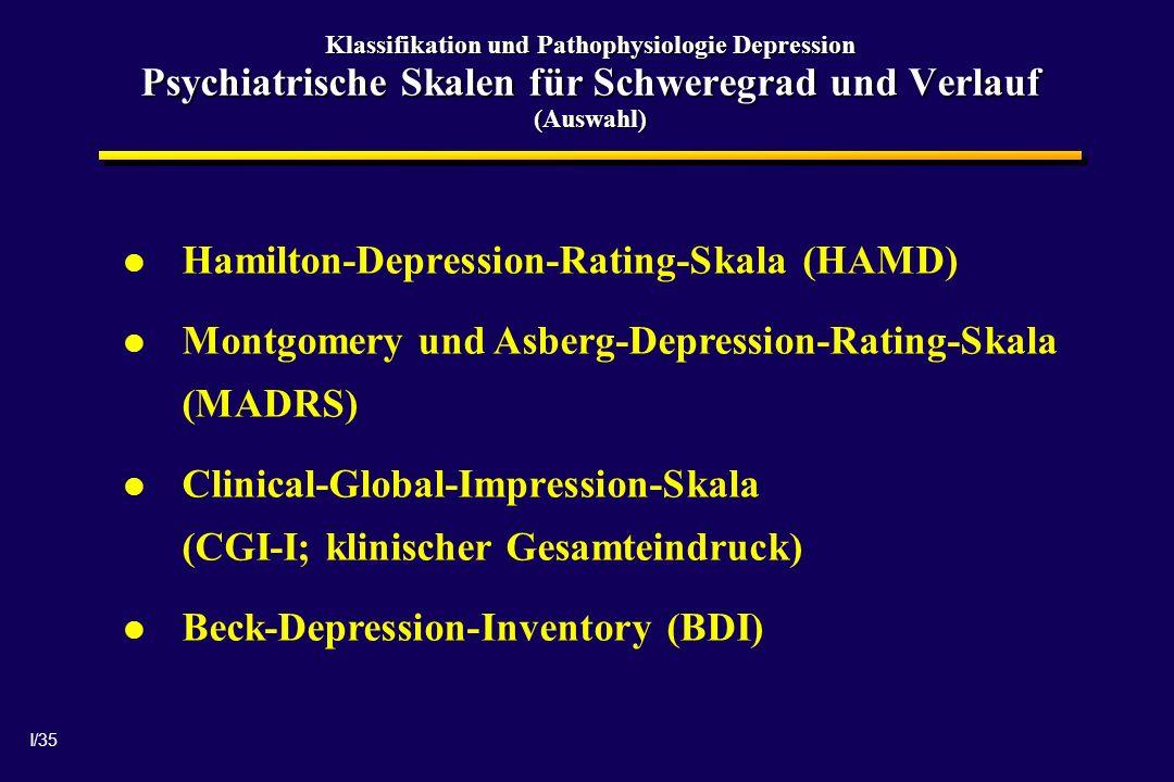 I/35 Klassifikation und Pathophysiologie Depression Psychiatrische Skalen für Schweregrad und Verlauf (Auswahl) Hamilton-Depression-Rating-Skala (HAMD) Montgomery und Asberg-Depression-Rating-Skala (MADRS) Clinical-Global-Impression-Skala (CGI-I; klinischer Gesamteindruck) Beck-Depression-Inventory (BDI)