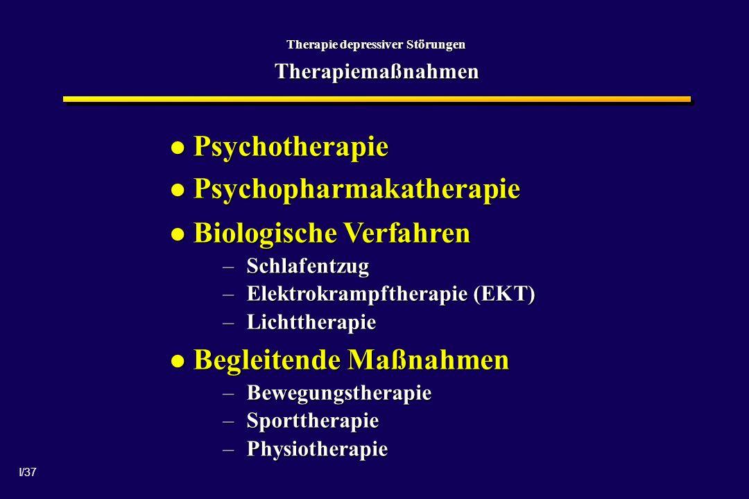 I/37 Therapie depressiver Störungen Therapiemaßnahmen Psychotherapie Psychotherapie Psychopharmakatherapie Psychopharmakatherapie Biologische Verfahren Biologische Verfahren –Schlafentzug –Elektrokrampftherapie (EKT) –Lichttherapie Begleitende Maßnahmen Begleitende Maßnahmen –Bewegungstherapie –Sporttherapie –Physiotherapie