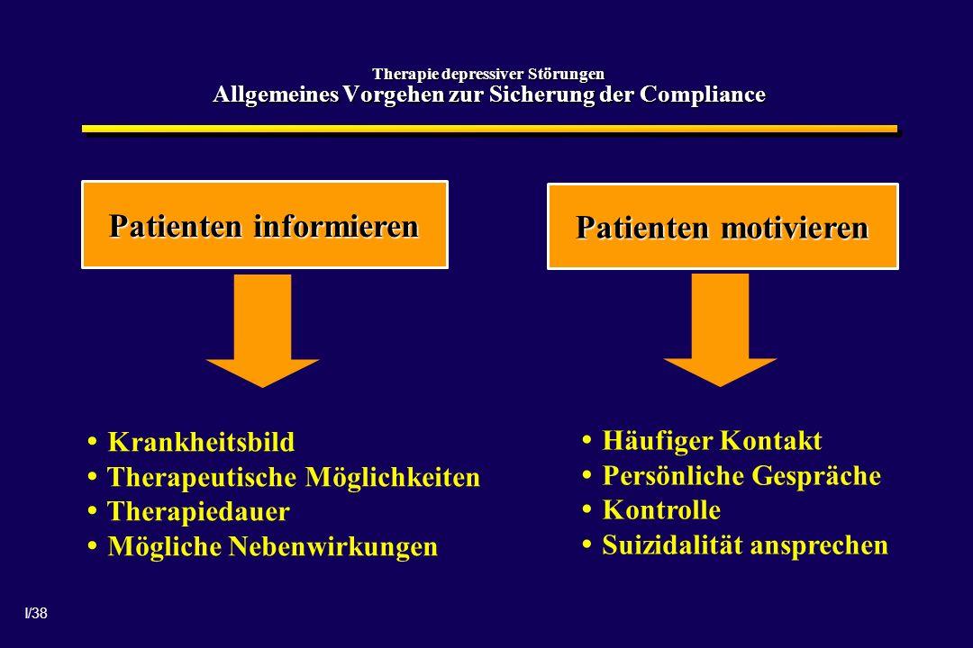 I/38 Therapie depressiver Störungen Allgemeines Vorgehen zur Sicherung der Compliance Patienten informieren Patienten motivieren Krankheitsbild Therap