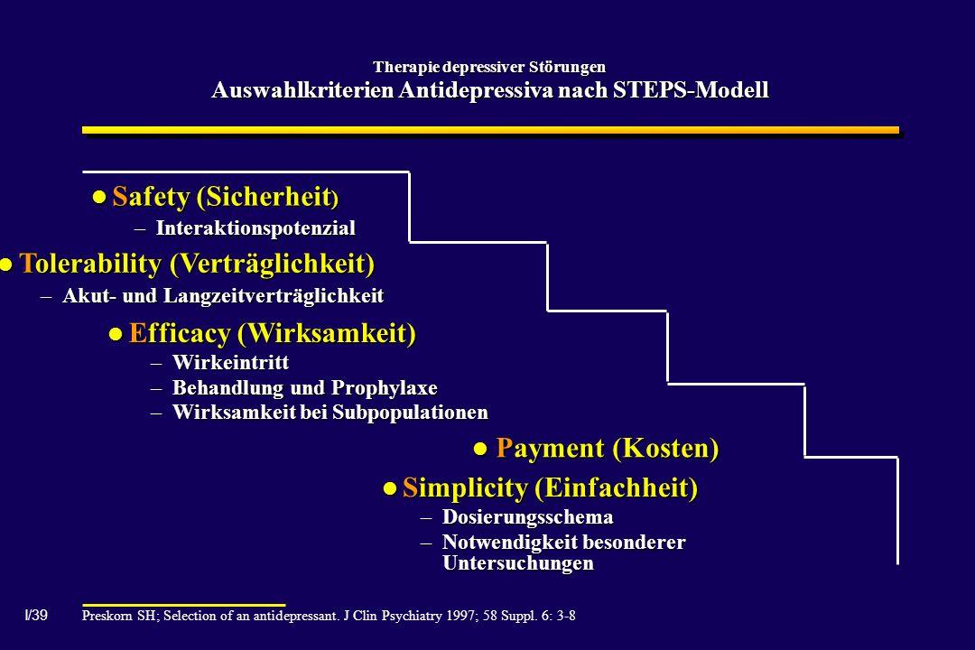 I/39 Therapie depressiver Störungen Auswahlkriterien Antidepressiva nach STEPS-Modell Preskorn SH; Selection of an antidepressant. J Clin Psychiatry 1