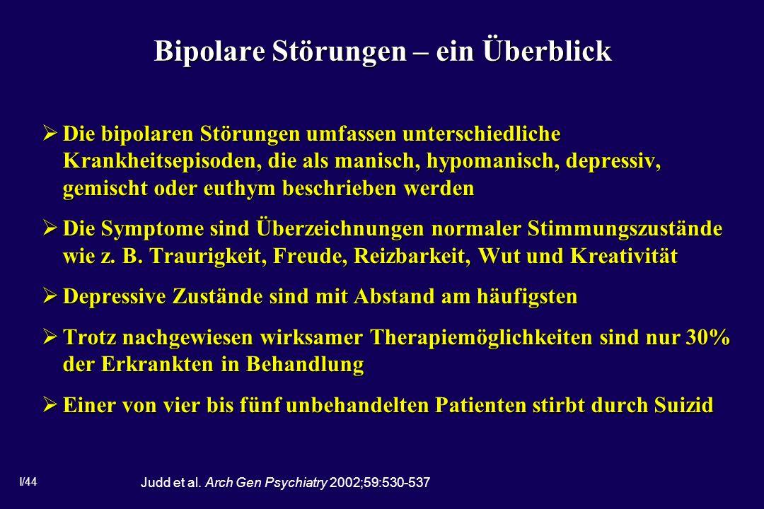 I/44 Bipolare Störungen – ein Überblick Die bipolaren Störungen umfassen unterschiedliche Krankheitsepisoden, die als manisch, hypomanisch, depressiv, gemischt oder euthym beschrieben werden Die bipolaren Störungen umfassen unterschiedliche Krankheitsepisoden, die als manisch, hypomanisch, depressiv, gemischt oder euthym beschrieben werden Die Symptome sind Überzeichnungen normaler Stimmungszustände wie z.