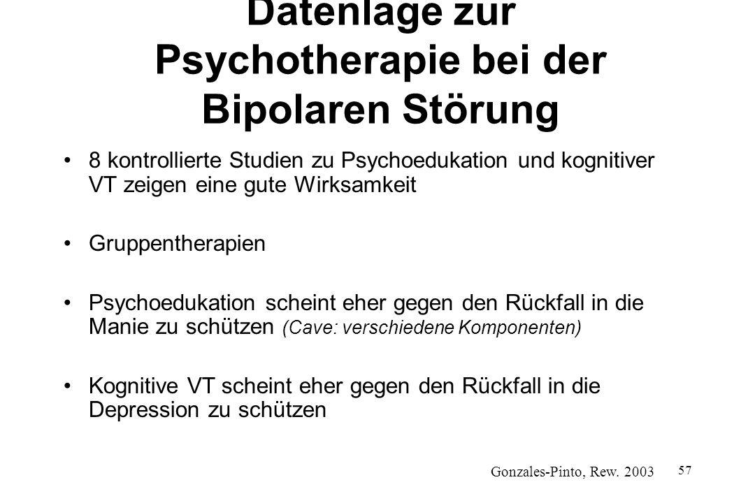 57 Datenlage zur Psychotherapie bei der Bipolaren Störung 8 kontrollierte Studien zu Psychoedukation und kognitiver VT zeigen eine gute Wirksamkeit Gr