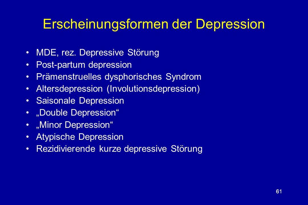 61 Erscheinungsformen der Depression MDE, rez. Depressive Störung Post-partum depression Prämenstruelles dysphorisches Syndrom Altersdepression (Invol