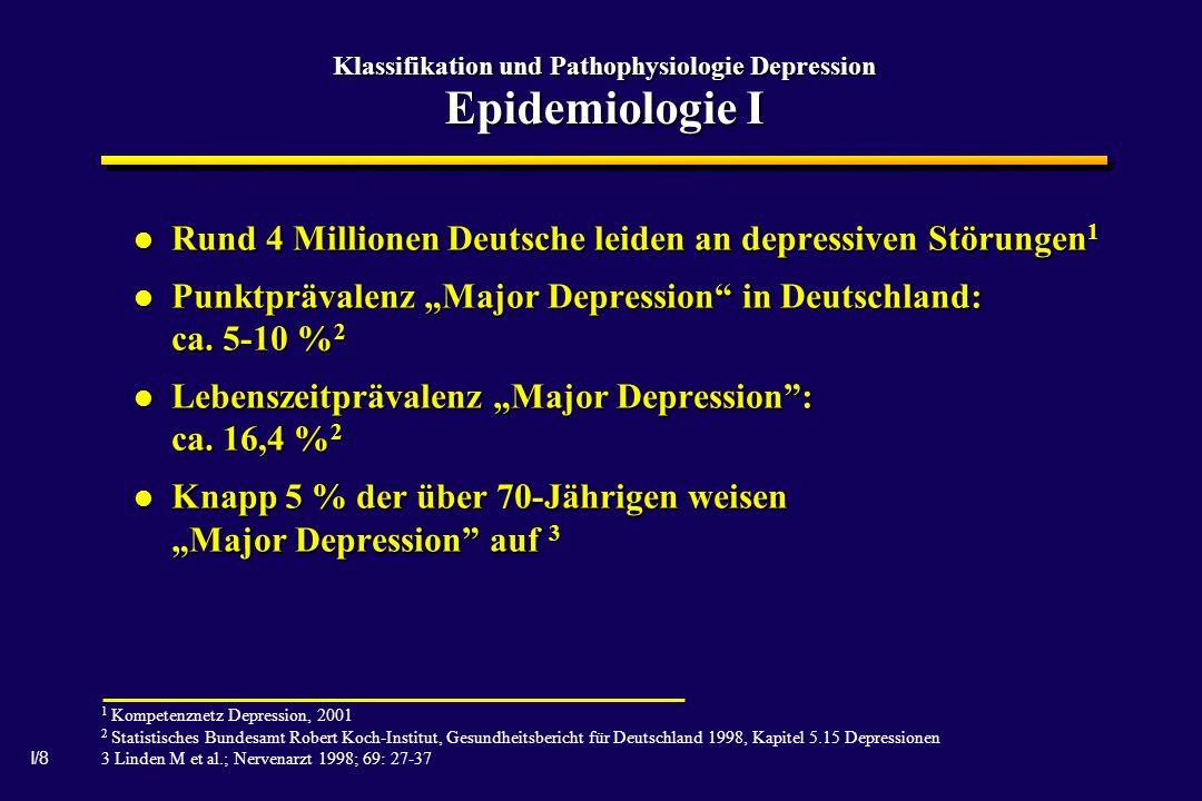 I/8 Klassifikation und Pathophysiologie Depression Epidemiologie I Rund 4 Millionen Deutsche leiden an depressiven Störungen 1 Rund 4 Millionen Deutsche leiden an depressiven Störungen 1 Punktprävalenz Major Depression in Deutschland: ca.