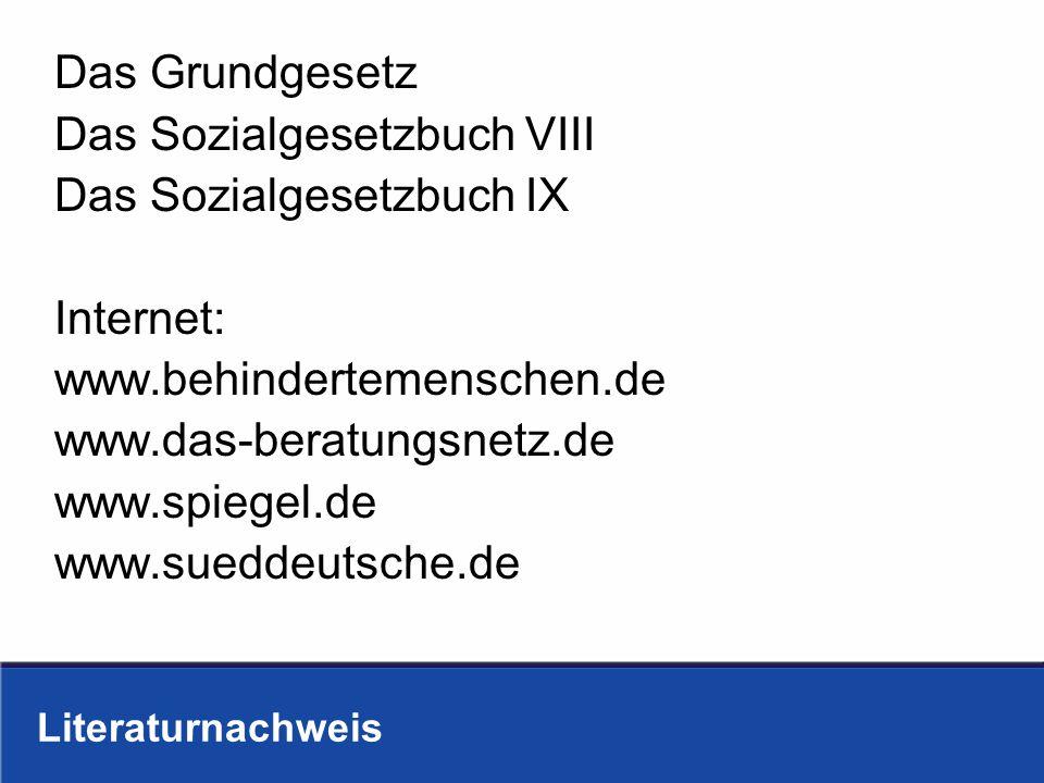 Literaturnachweis Das Grundgesetz Das Sozialgesetzbuch VIII Das Sozialgesetzbuch IX Internet: www.behindertemenschen.de www.das-beratungsnetz.de www.s