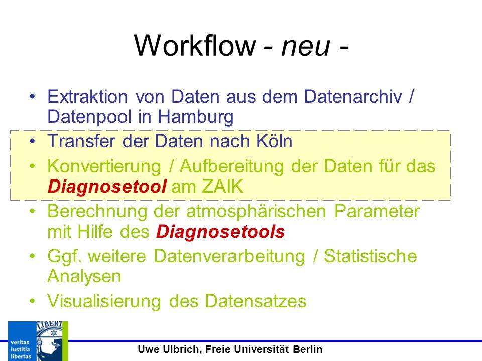 Uwe Ulbrich, Freie Universität Berlin Workflow - neu - Extraktion von Daten aus dem Datenarchiv / Datenpool in Hamburg Transfer der Daten nach Köln Konvertierung / Aufbereitung der Daten für das Diagnosetool am ZAIK Berechnung der atmosphärischen Parameter mit Hilfe des Diagnosetools Ggf.