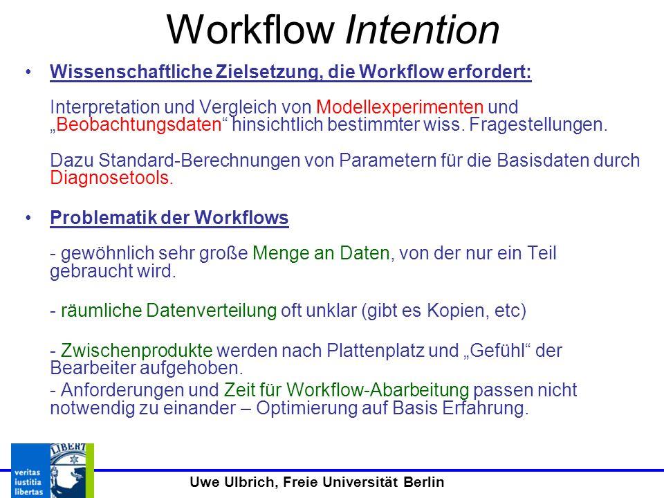 Uwe Ulbrich, Freie Universität Berlin Workflow Intention Wissenschaftliche Zielsetzung, die Workflow erfordert: Interpretation und Vergleich von Modellexperimenten undBeobachtungsdaten hinsichtlich bestimmter wiss.