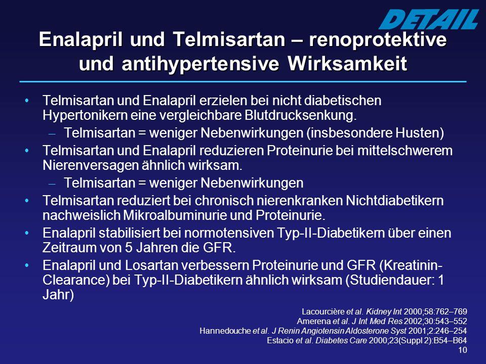 10 Enalapril und Telmisartan – renoprotektive und antihypertensive Wirksamkeit Telmisartan und Enalapril erzielen bei nicht diabetischen Hypertonikern