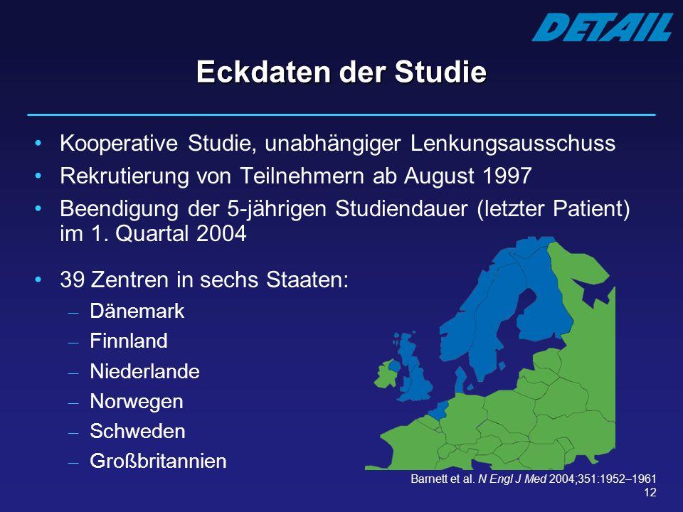 12 Eckdaten der Studie Kooperative Studie, unabhängiger Lenkungsausschuss Rekrutierung von Teilnehmern ab August 1997 Beendigung der 5-jährigen Studie