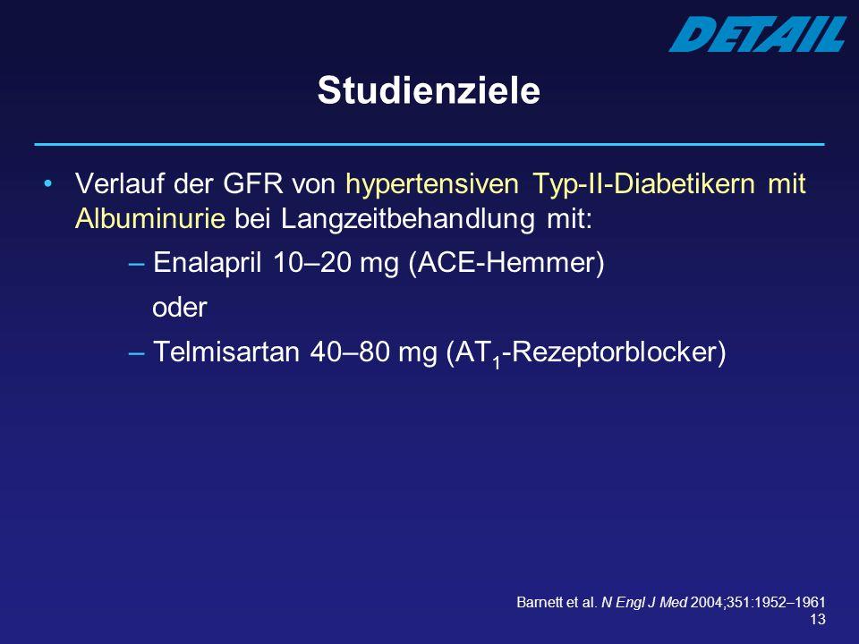 13 Studienziele Verlauf der GFR von hypertensiven Typ-II-Diabetikern mit Albuminurie bei Langzeitbehandlung mit: – Enalapril 10–20 mg (ACE-Hemmer) ode
