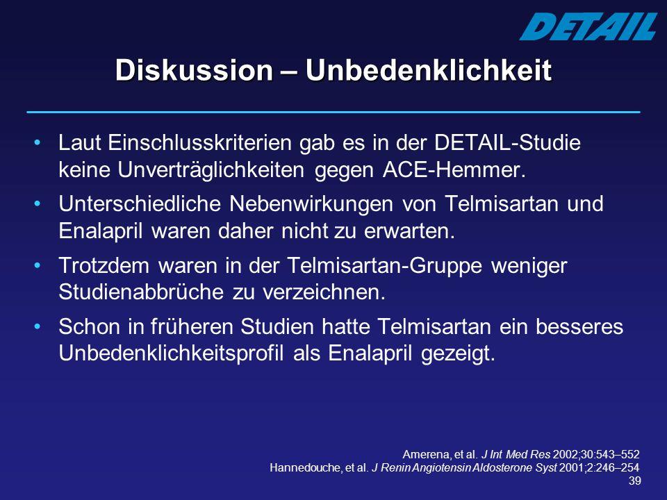 39 Diskussion – Unbedenklichkeit Laut Einschlusskriterien gab es in der DETAIL-Studie keine Unverträglichkeiten gegen ACE-Hemmer. Unterschiedliche Neb