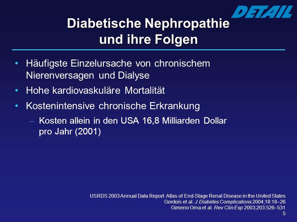 5 Diabetische Nephropathie und ihre Folgen Häufigste Einzelursache von chronischem Nierenversagen und Dialyse Hohe kardiovaskuläre Mortalität Kostenin