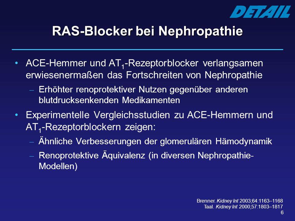 6 RAS-Blocker bei Nephropathie ACE-Hemmer und AT 1 -Rezeptorblocker verlangsamen erwiesenermaßen das Fortschreiten von Nephropathie – Erhöhter renopro