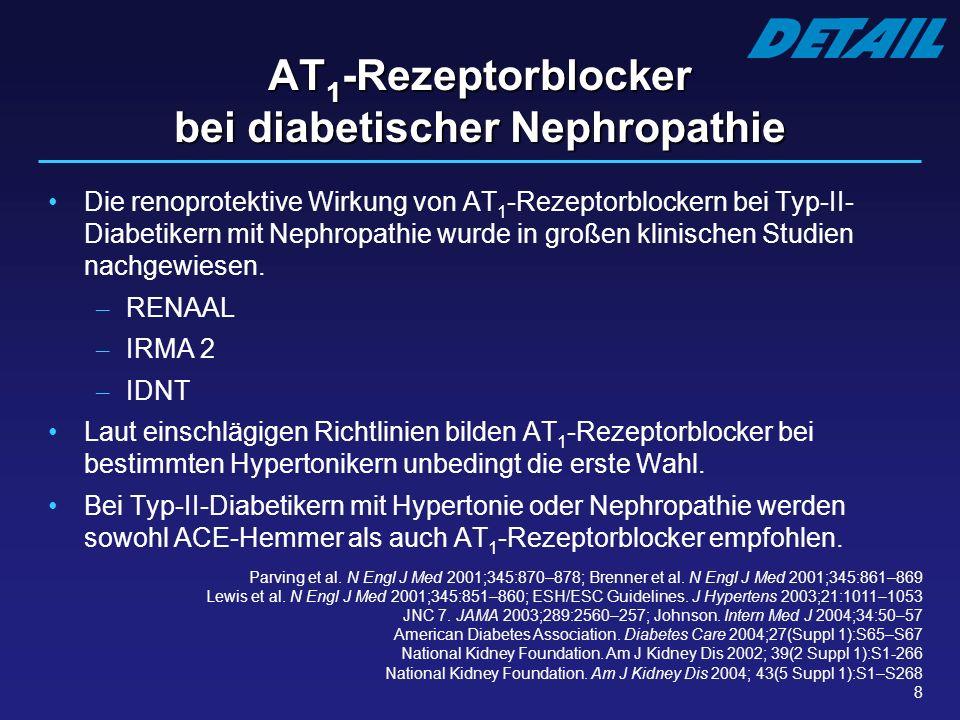 8 AT 1 -Rezeptorblocker bei diabetischer Nephropathie Die renoprotektive Wirkung von AT 1 -Rezeptorblockern bei Typ-II- Diabetikern mit Nephropathie w