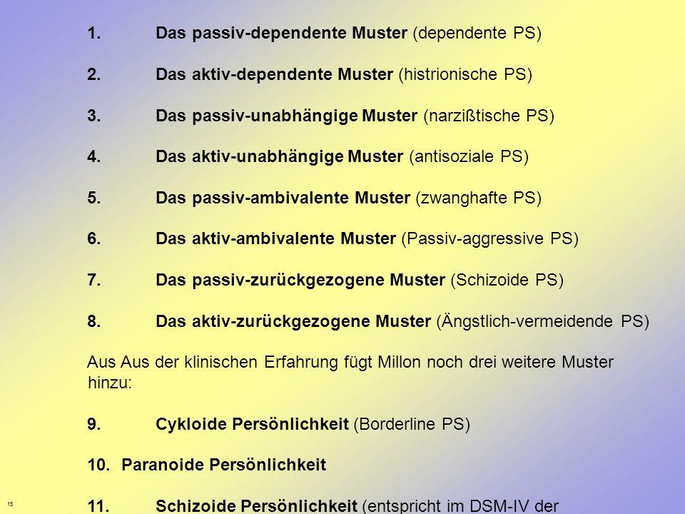 15 1. Das passiv-dependente Muster (dependente PS) 2. Das aktiv-dependente Muster (histrionische PS) 3. Das passiv-unabhängige Muster (narzißtische PS