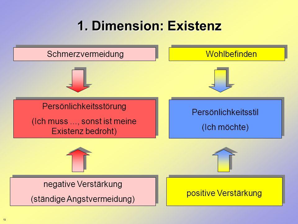 19 1. Dimension: Existenz Schmerzvermeidung Wohlbefinden Persönlichkeitsstörung (Ich muss..., sonst ist meine Existenz bedroht) Persönlichkeitsstörung