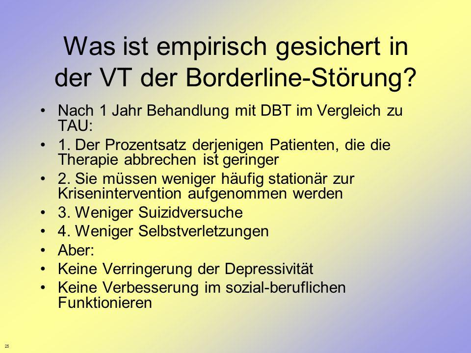25 Was ist empirisch gesichert in der VT der Borderline-Störung? Nach 1 Jahr Behandlung mit DBT im Vergleich zu TAU: 1. Der Prozentsatz derjenigen Pat
