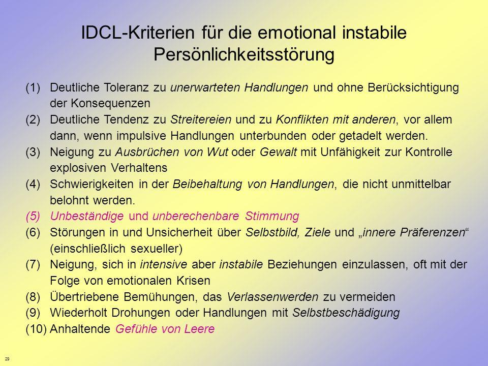 29 IDCL-Kriterien für die emotional instabile Persönlichkeitsstörung (1)Deutliche Toleranz zu unerwarteten Handlungen und ohne Berücksichtigung der Ko