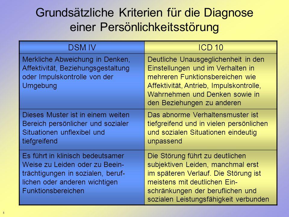 5 Grundsätzliche Kriterien für die Diagnose einer Persönlichkeitsstörung DSM IVICD 10 Merkliche Abweichung in Denken, Affektivität, Beziehungsgestaltu