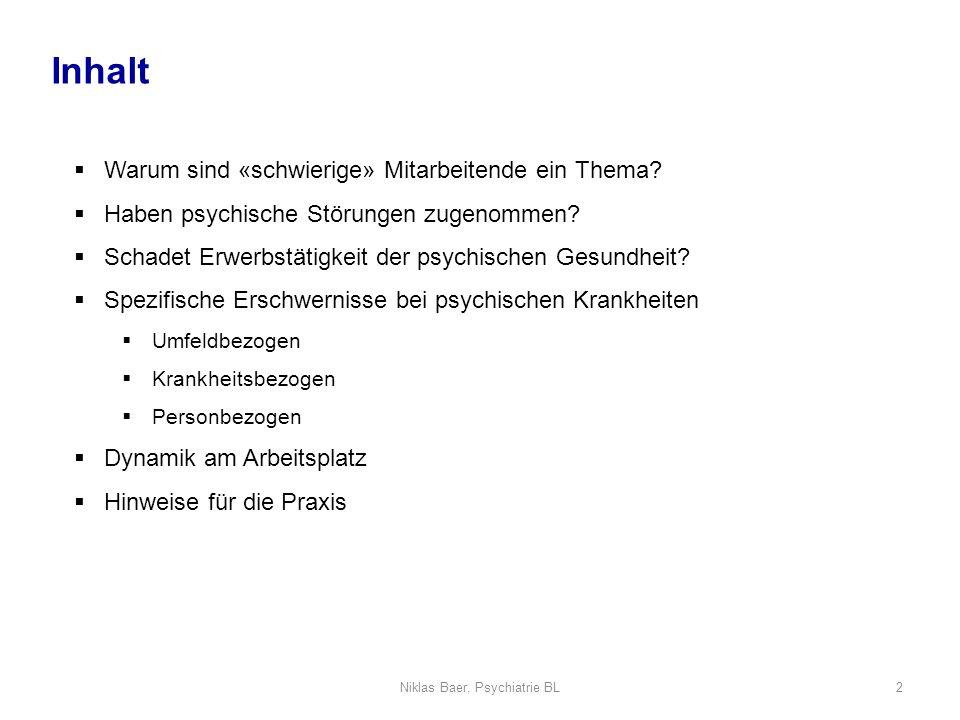 Niklas Baer, Psychiatrie BL2 Warum sind «schwierige» Mitarbeitende ein Thema? Haben psychische Störungen zugenommen? Schadet Erwerbstätigkeit der psyc