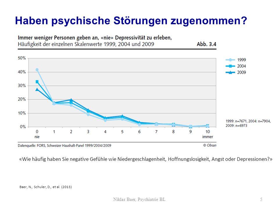 «Wie häufig haben Sie negative Gefühle wie Niedergeschlagenheit, Hoffnungslosigkeit, Angst oder Depressionen?» Baer, N., Schuler, D., et al. (2013) Ha