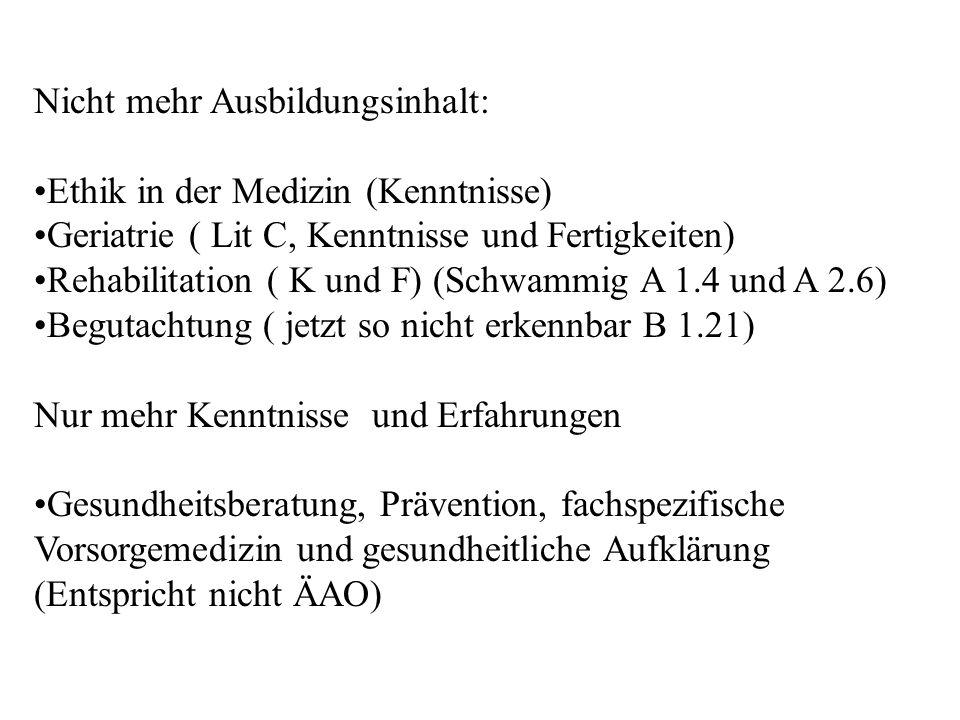 Nicht mehr Ausbildungsinhalt: Ethik in der Medizin (Kenntnisse) Geriatrie ( Lit C, Kenntnisse und Fertigkeiten) Rehabilitation ( K und F) (Schwammig A
