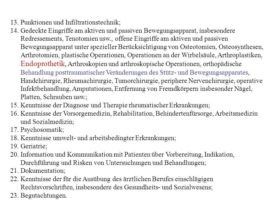 Ziel der fachärztlichen Ausbildung: ÄAO § 11...Erwerb und Nachweis von....notwendigen fachspezifischen Kenntnissen, Erfahrungen und Fertigkeiten, insbesondere auf dem Gebiet der (1)fachspezifischen Diagnostik und Krankenbehandlung unter Berücksichtigung von geschlechtsspezifischen Besonderheiten (2)Vorsorge- und Nachsorgemedizin (3)Psychosomatik (4)umwelt- und arbeitsbedingten Erkrankungen (5)Information und Kommunikation mit Patientinnen/Patienten über Vorbereitung, Indikation, Durchführung und Risken von Untersuchungen und Behandlungen (6)fachspezifische Geriatrie (7)fachspezifischen Schmerztherapie (8)fachspezifischen medizinischen Betreuung behinderter Menschen sowie (9)Palliativmedizin.