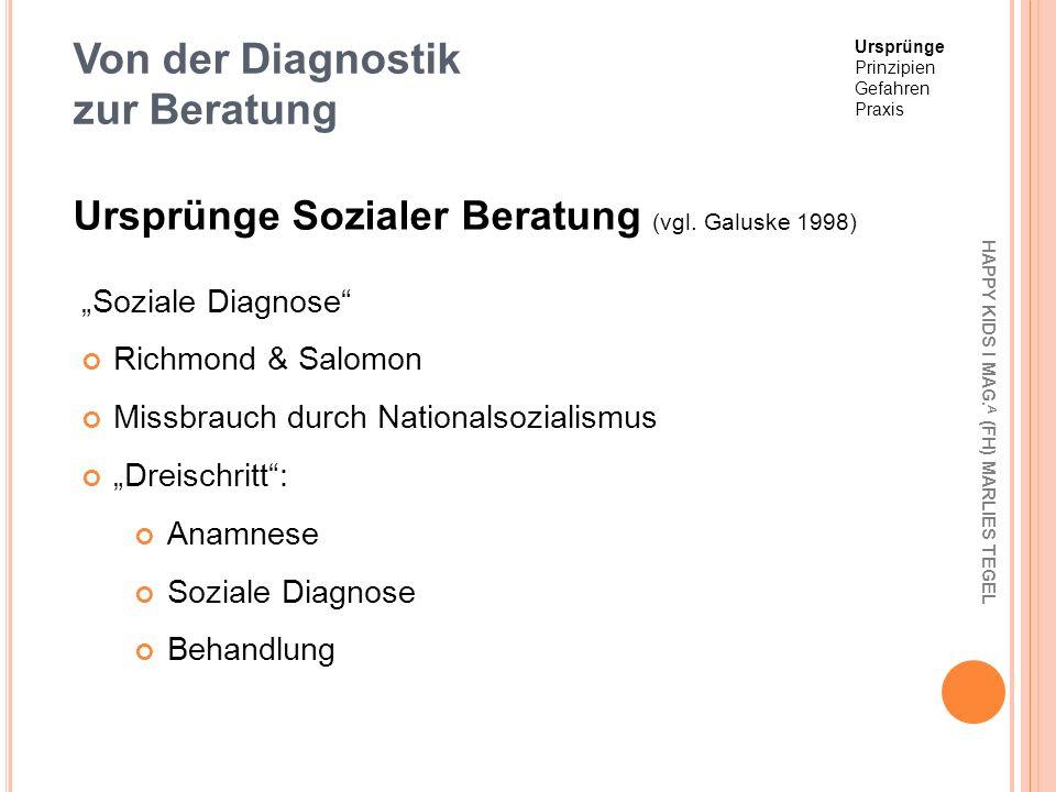 Von der Diagnostik zur Beratung Soziale Diagnose Richmond & Salomon Missbrauch durch Nationalsozialismus Dreischritt: Anamnese Soziale Diagnose Behand