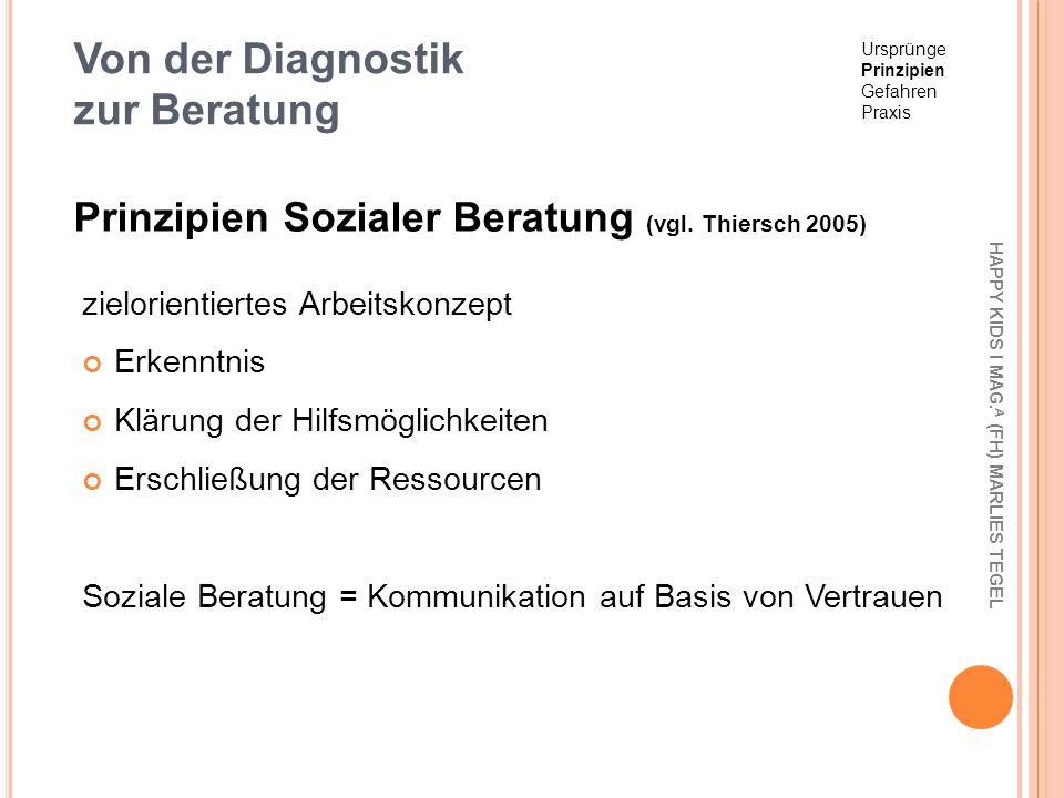Von der Diagnostik zur Beratung zielorientiertes Arbeitskonzept Erkenntnis Klärung der Hilfsmöglichkeiten Erschließung der Ressourcen Soziale Beratung