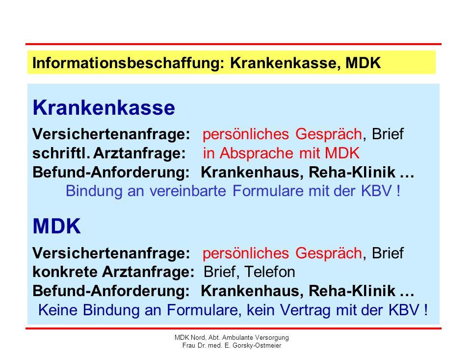 Informationsbeschaffung: Krankenkasse, MDK Krankenkasse Versichertenanfrage: persönliches Gespräch, Brief schriftl. Arztanfrage: in Absprache mit MDK