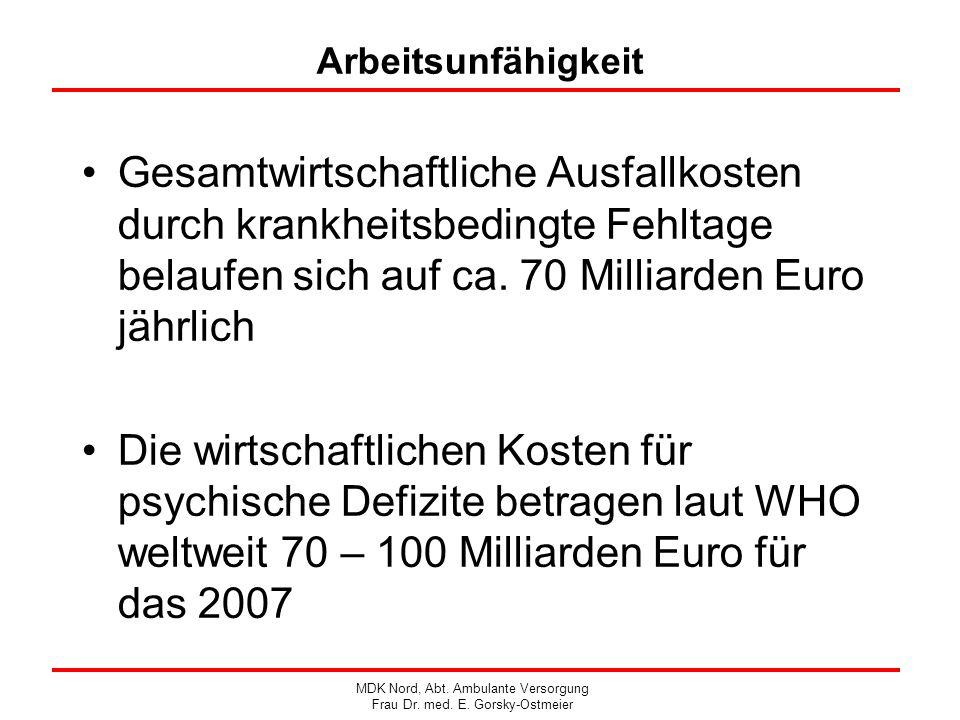 Arbeitsunfähigkeit Gesamtwirtschaftliche Ausfallkosten durch krankheitsbedingte Fehltage belaufen sich auf ca. 70 Milliarden Euro jährlich Die wirtsch