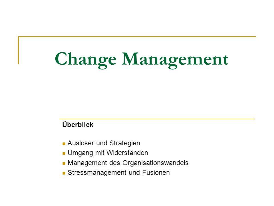 Change Management Überblick Auslöser und Strategien Umgang mit Widerständen Management des Organisationswandels Stressmanagement und Fusionen