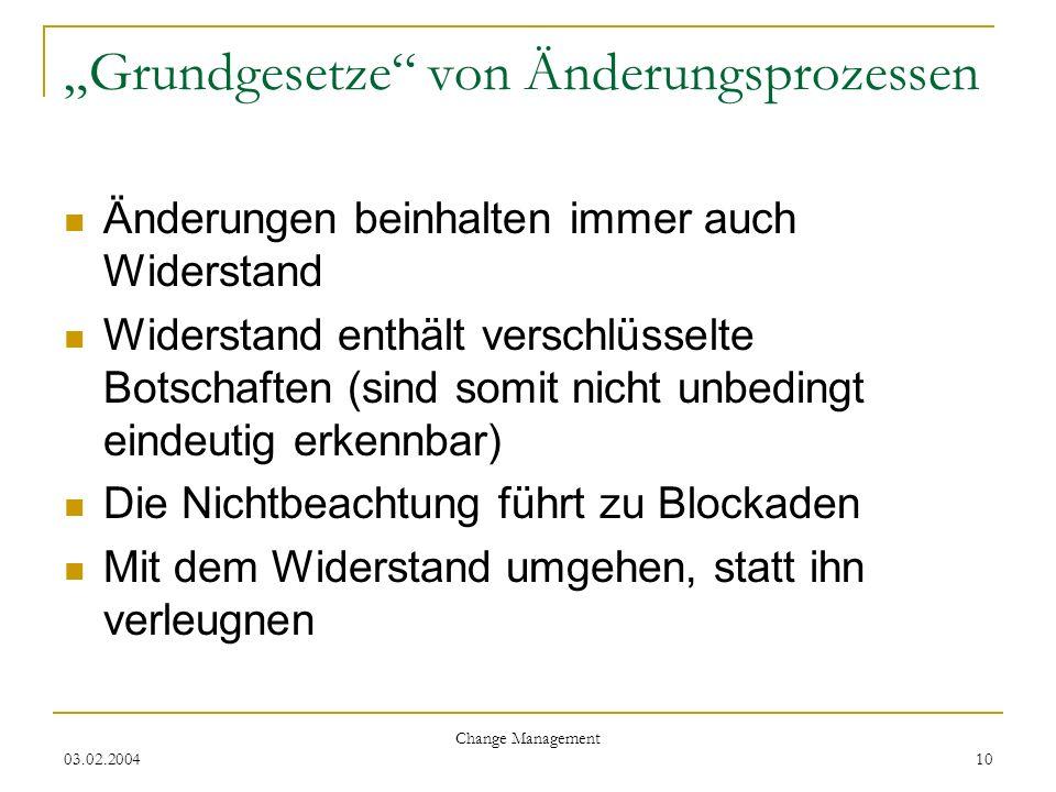 03.02.2004 Change Management 10 Grundgesetze von Änderungsprozessen Änderungen beinhalten immer auch Widerstand Widerstand enthält verschlüsselte Bots