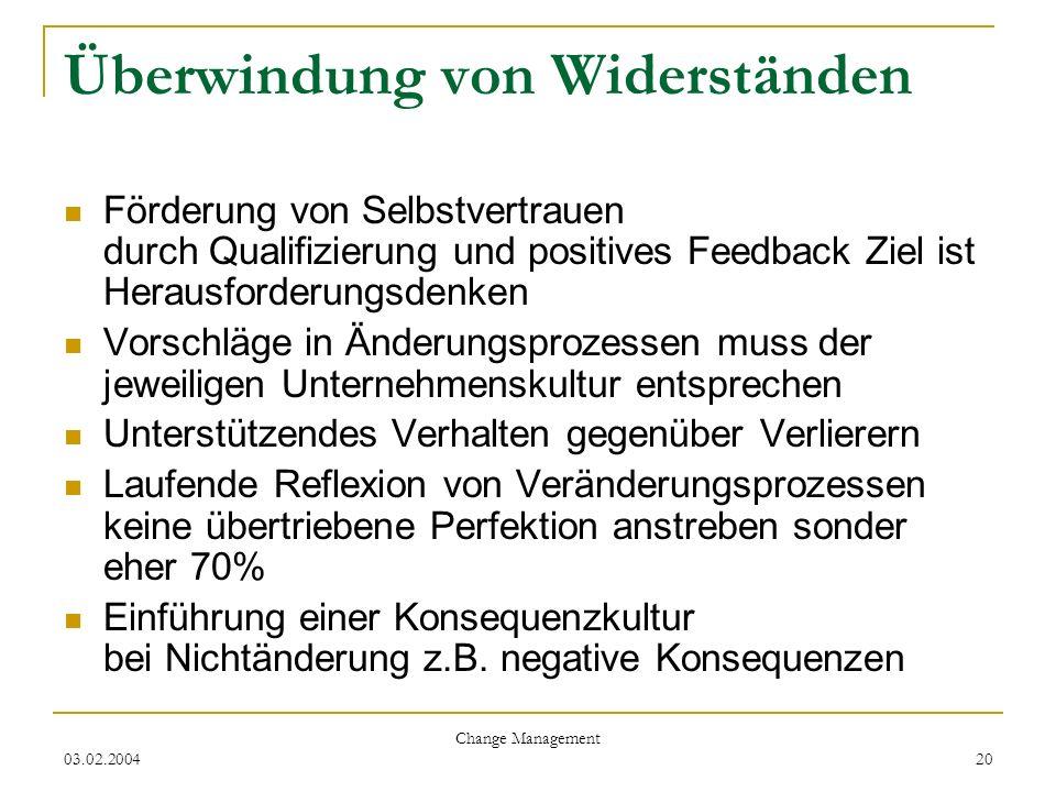 03.02.2004 Change Management 20 Überwindung von Widerständen Förderung von Selbstvertrauen durch Qualifizierung und positives Feedback Ziel ist Heraus