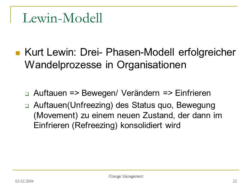 03.02.2004 Change Management 22 Lewin-Modell Kurt Lewin: Drei- Phasen-Modell erfolgreicher Wandelprozesse in Organisationen Auftauen => Bewegen/ Verän