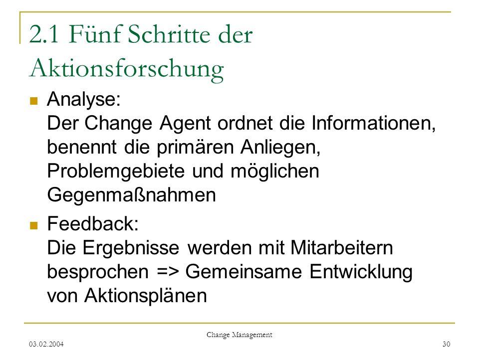 03.02.2004 Change Management 30 2.1 Fünf Schritte der Aktionsforschung Analyse: Der Change Agent ordnet die Informationen, benennt die primären Anlieg