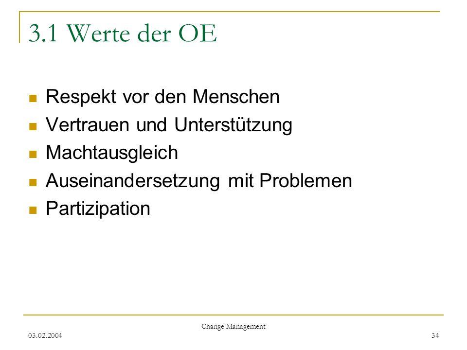 03.02.2004 Change Management 34 3.1 Werte der OE Respekt vor den Menschen Vertrauen und Unterstützung Machtausgleich Auseinandersetzung mit Problemen